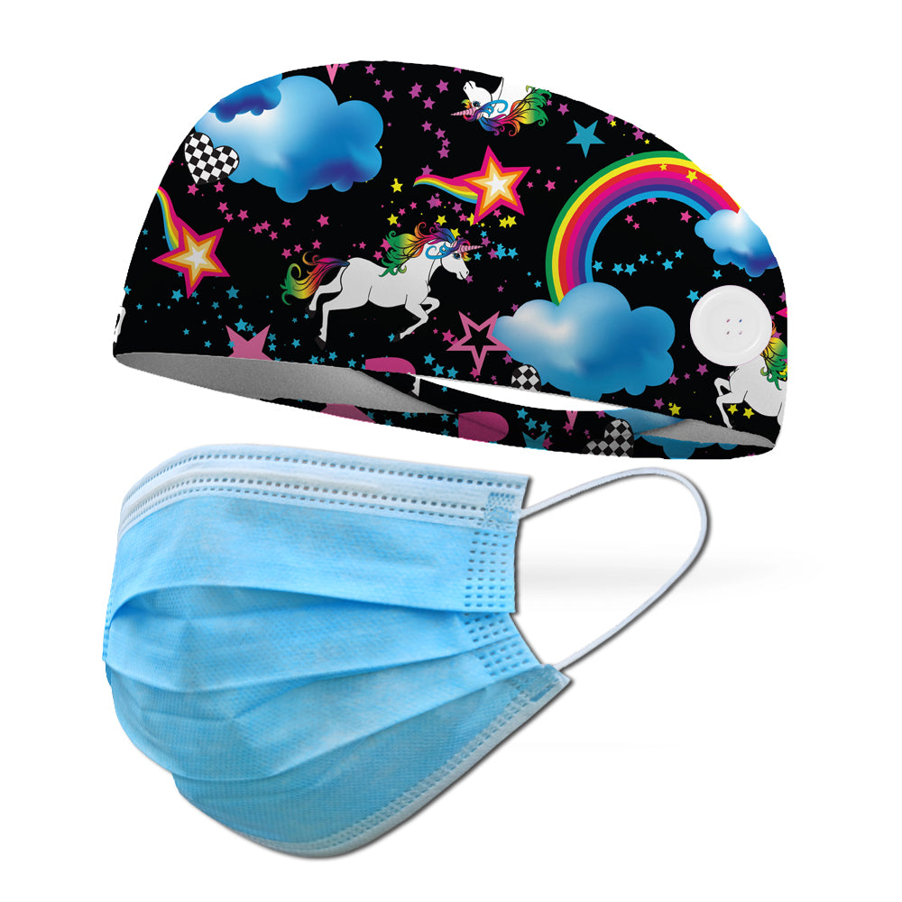 Unicorn Dreams Wicking Button Headband to Loop Your Medical Face Masks Onto (Mask Not Included Headband Only)