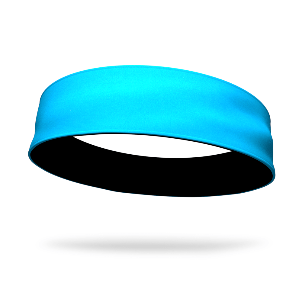 Aqua and Black Wicking Reversible Headband