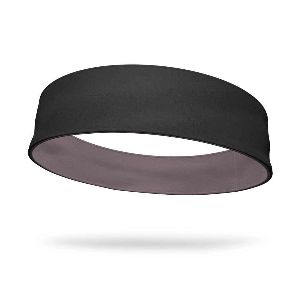 Black and Gray Wicking Reversible Headband