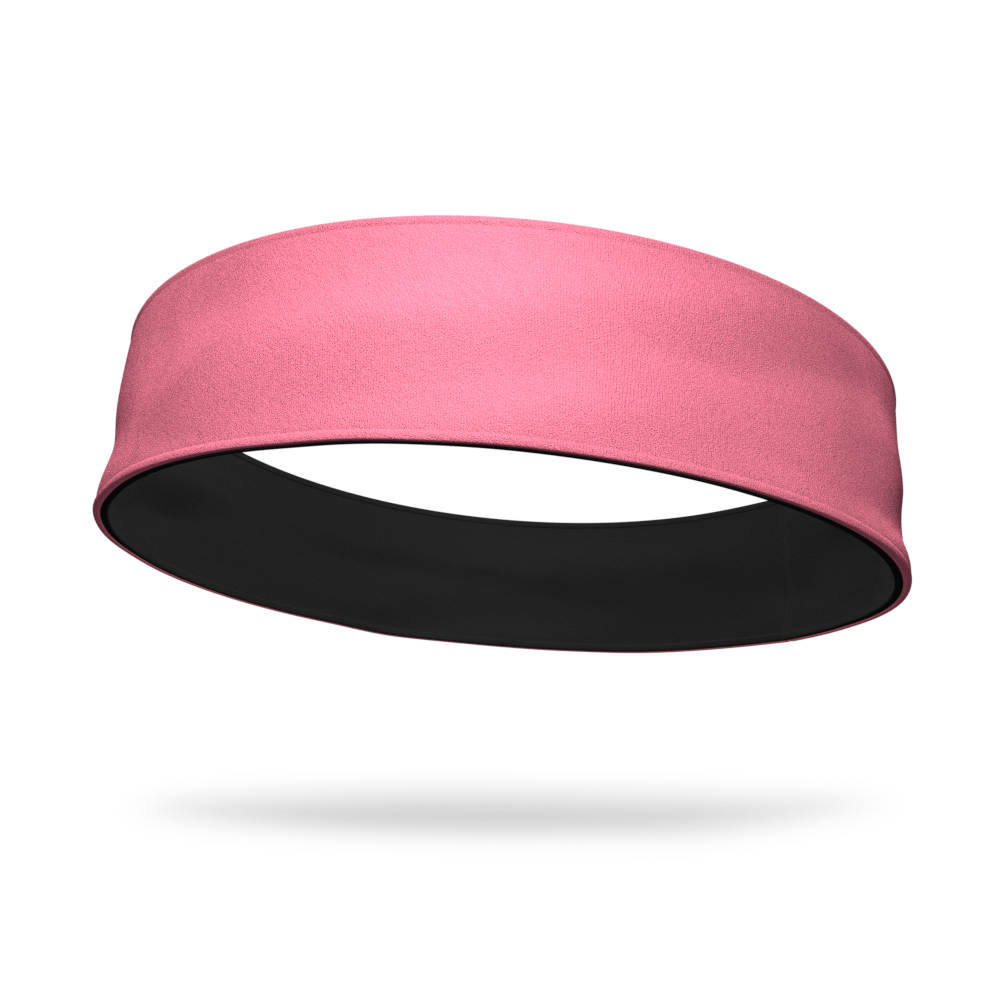 Black and Neon Coral Wicking Reversible Headband