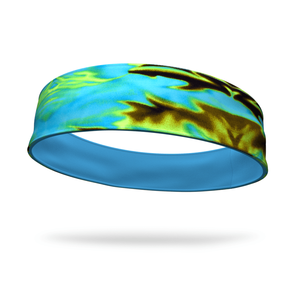 Blue Green Tie Dye Fashion & Aqua Wicking Reversible Headband