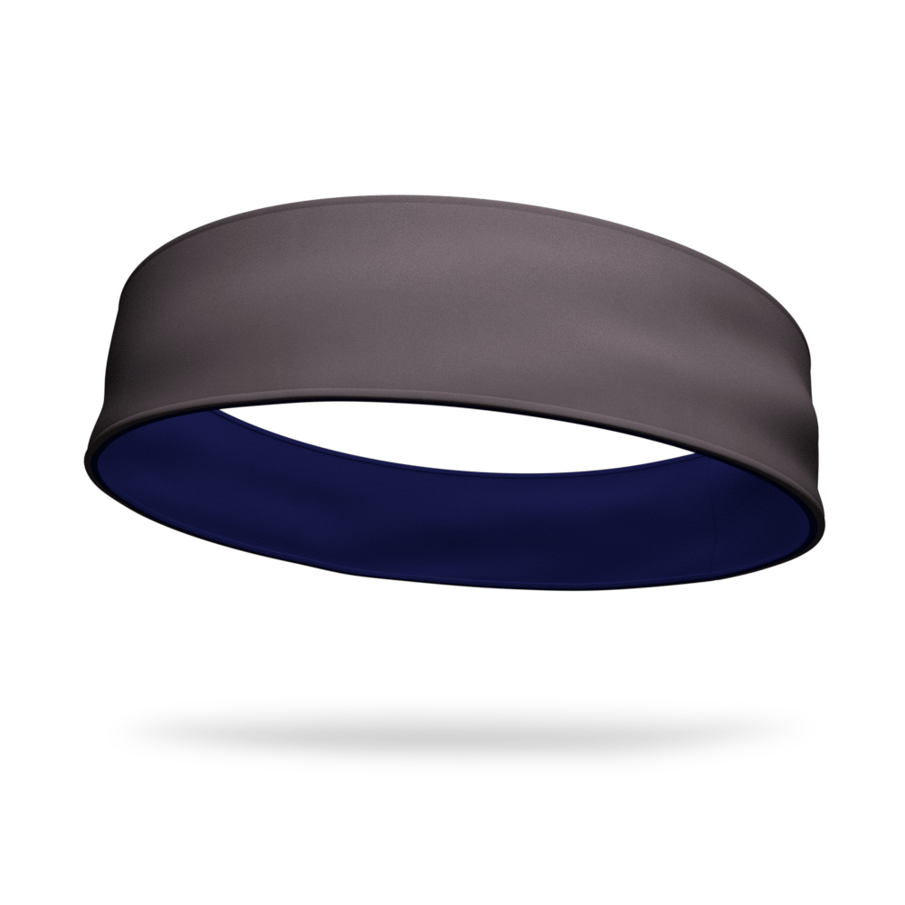 Gray and Navy Wicking Reversible Headband