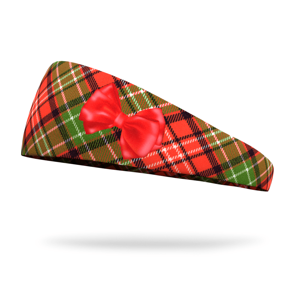 Holiday Plaid with Bow Wicking Dyed Headband