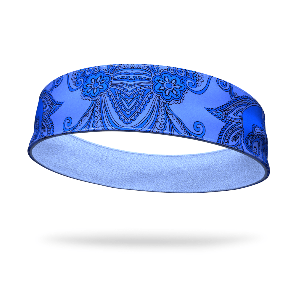 Paisley Blue Fashion with Light Blue Wicking Reversible Headband