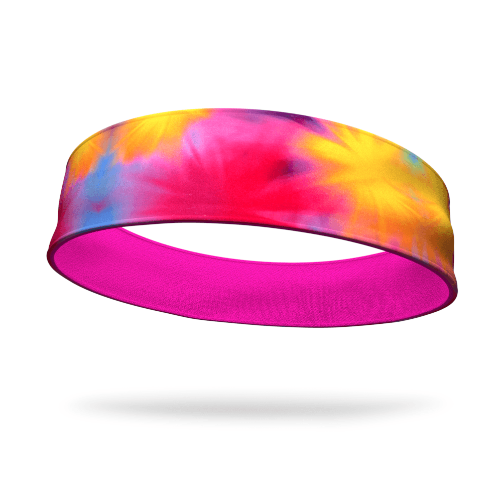Sunburst Tie Dye Fashion with Neon Pink Wicking Reversible Headband