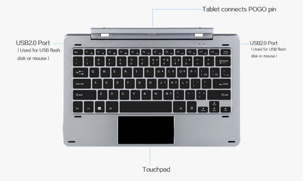 Chuwi Hi12 Magnetic Removable Aluminum Docking Keyboard and Trackpad USB 2.0