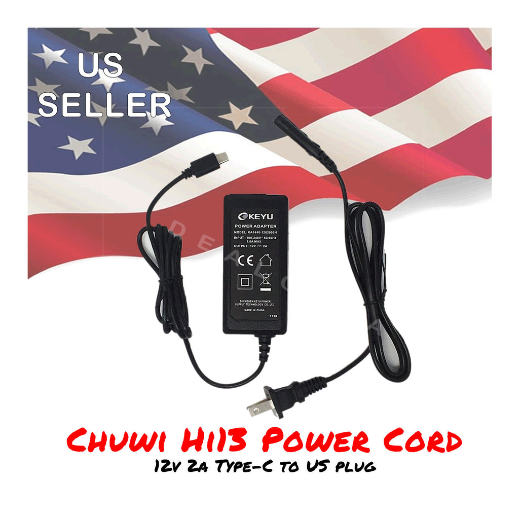 Chuwi Hi13 Tablet PC 12V 2A Type-C Charger Power Cord with US Plug Adapter
