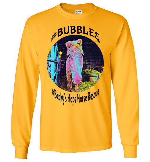 Becky's Hope Horse Rescue #Bubbles Long Sleeve T-shirt - Furbabies.love - 4