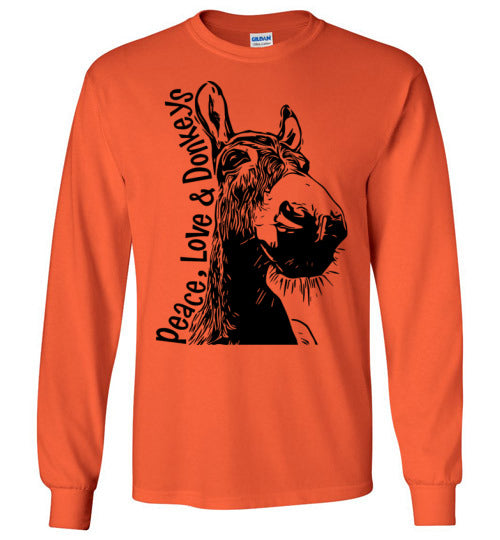 Peace Love and Donkeys - Becky's Hope Horse Rescue Gildan Long Sleeve T-shirt
