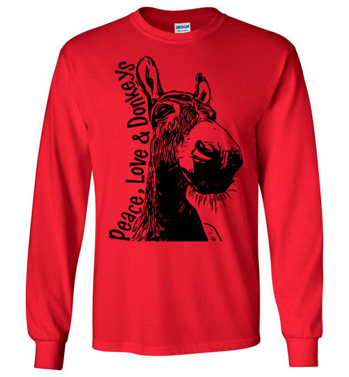 Peace Love and Donkeys Gildan Long Sleeve Tshirt