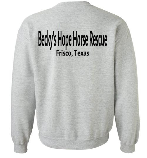 Peace, Love and Donkey's - Becky's Hope Horse Rescue Crew Neck Sweatshirt