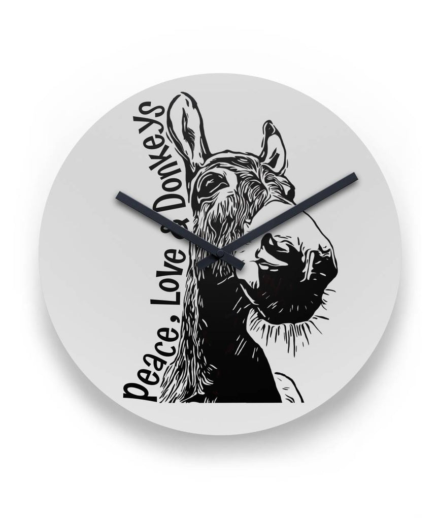 "Peace Love and Donkeys 11"" Metal Clock  11"" Round Wall Clock"