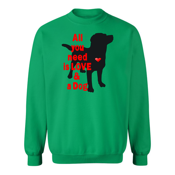 All You Need is Love and a Dog Adult Crew Sweatshirt - Furbabies.love - 3