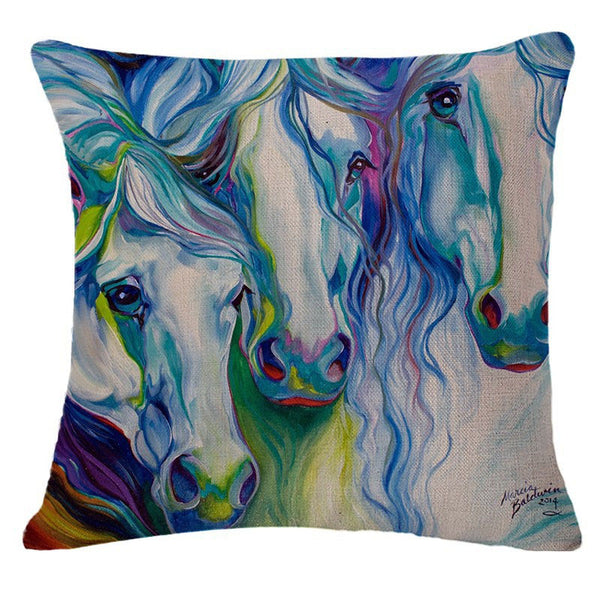 Horse Print Sofa Throw Cotton Linen Colorful Pillow Cover 18X18 (Case only) - Furbabies.love