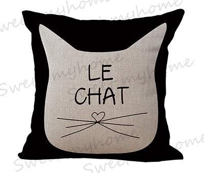 "18"" Black Cute Cat Printed Decorative Sofa Throw Pillow - Case ONLY - Furbabies.love"
