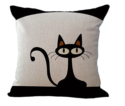 "18"" Black Cute Cat Printed Decorative Sofa Throw Pillow - Case ONLY - Furbabies.love - 7"