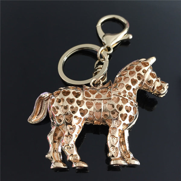 Crystal Pink Horse Key Chain - Furbabies.love