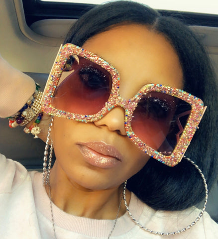 Mulatto Drip Top Designer Handmade Glitter Fashion Sunglasses
