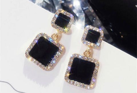 Classy Black Opal Earrings trimmed in Diamonds