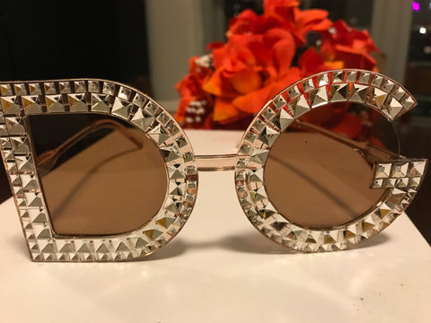 "DG"" Designer Bling Gemstone Sunglasses"