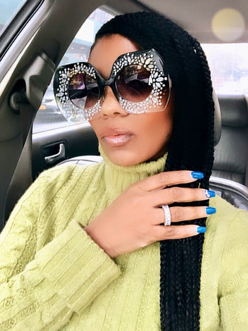 "Big Personality"" Over sized Rhinestone Sunglasses"