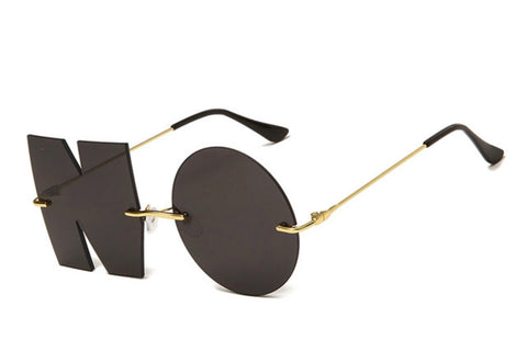 Fashion Letter large NO Reflecting Sunglasses