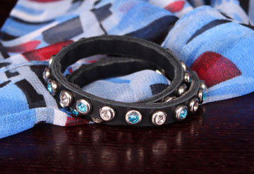 Rhinestone Encrusted Leather Bracelet - AlSundus