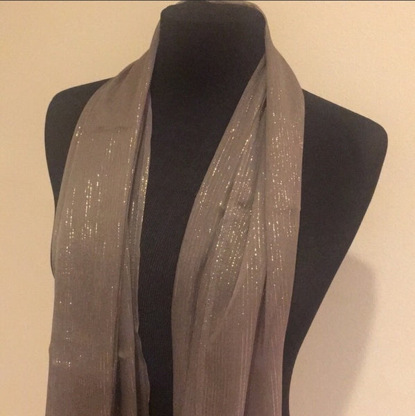 Wrap Style Hijab Scarf -100% Silk with Lurex Stripes - AlSundus