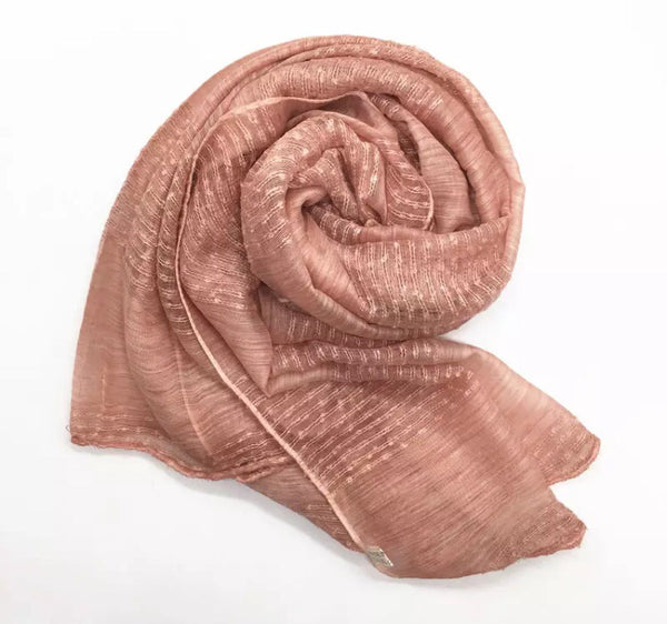 Blush Pink Striped Scarf Shawl Hijab Turban - AlSundus