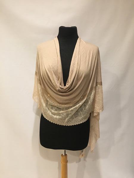 Jersey and lace scarf wrap shawl hijab turban - AlSundus