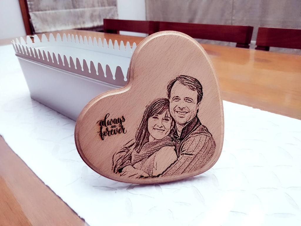 Photo Engraved Wooden Plaque - Heart
