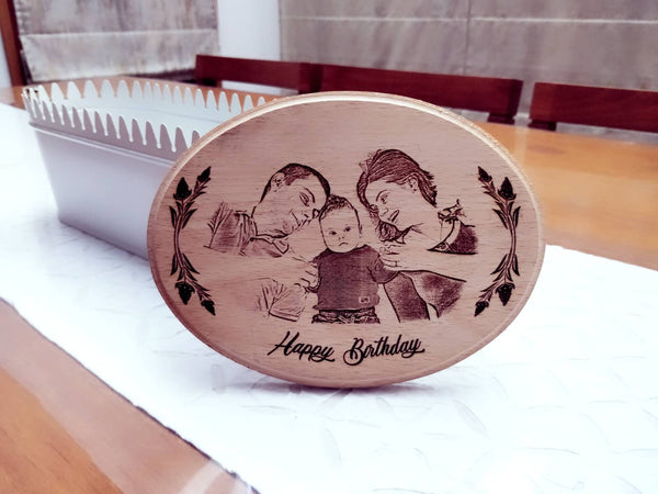 Photo Engraved Wooden Plaque - Oval