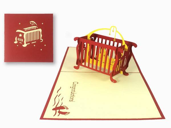 3D Pop Up Greeting Card - Baby Cradle(P109)