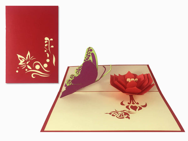 3D Pop Up Greeting Card - Flower (P104)