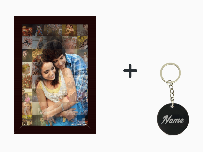 Mosaic Frame + Engraved Keychain Combo