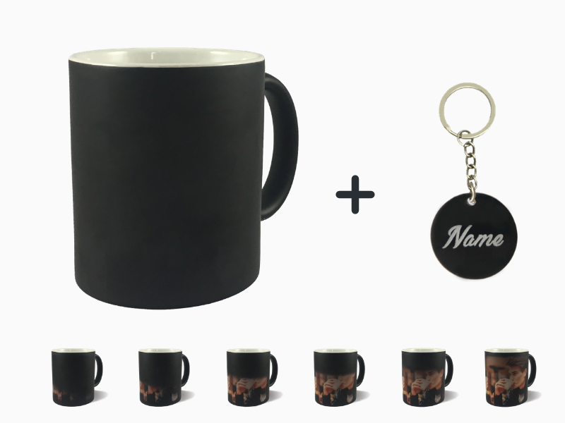 Magic Mug + Engraved Name Keychain Combo