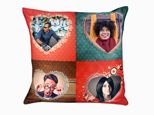 Printed Cushion - Four Hearts
