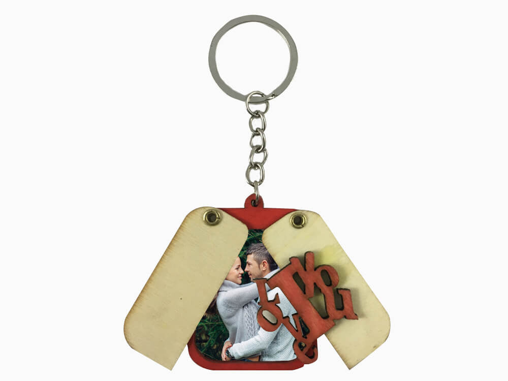 Wooden Folding Key Chain- I Love You