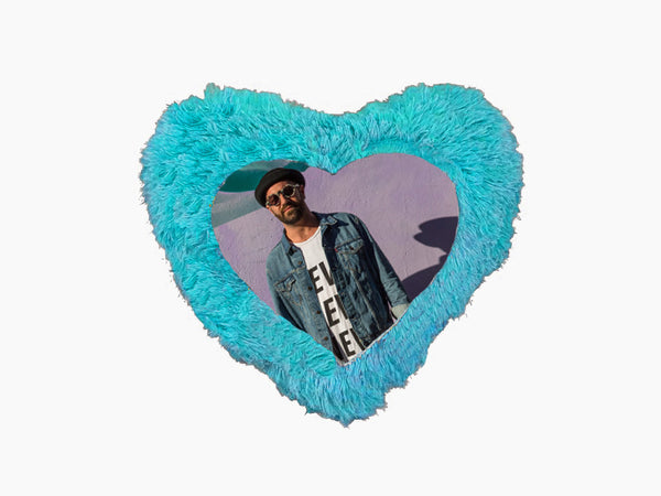 Fur Heart Cushion - Blue - Cushion - Wisholize