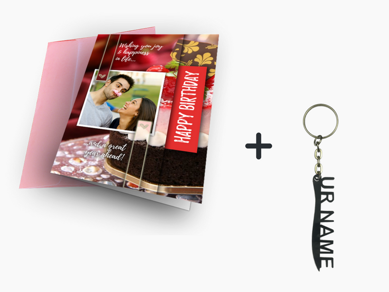 Birthday Greeting Card + Name Key Chain Combo