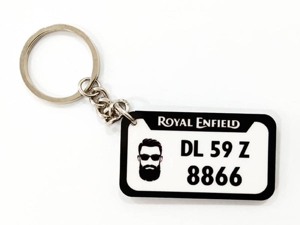 Mini Wooden Number Plate Keychain (M3)