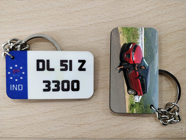 Mini Wooden Number Plate Keychain (M2)