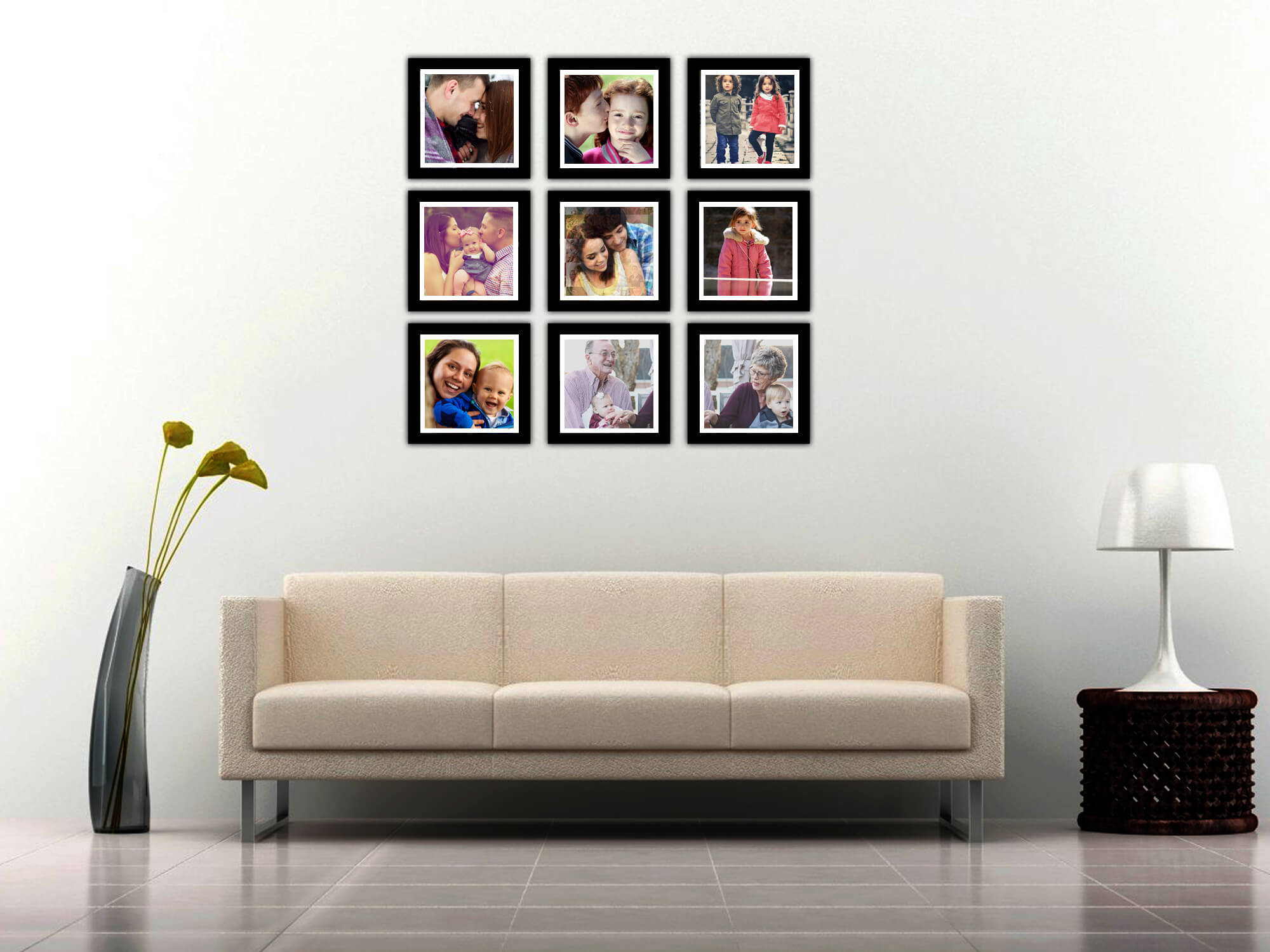 Multiple Photo Frame With Mosaic Frame At Center – Wisholize