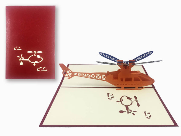 3D Pop Up Greeting Card - Helicopter (P118)