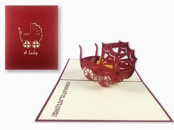 3D Pop Up Greeting Card - Baby Cradle (P119)