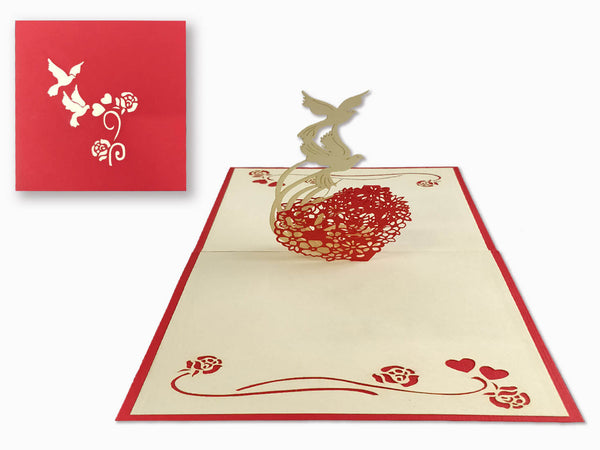 3D Pop Up Greeting Card - Heart (P124)