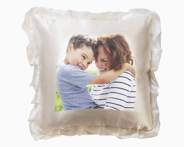 Satin Square Cushion White - Large
