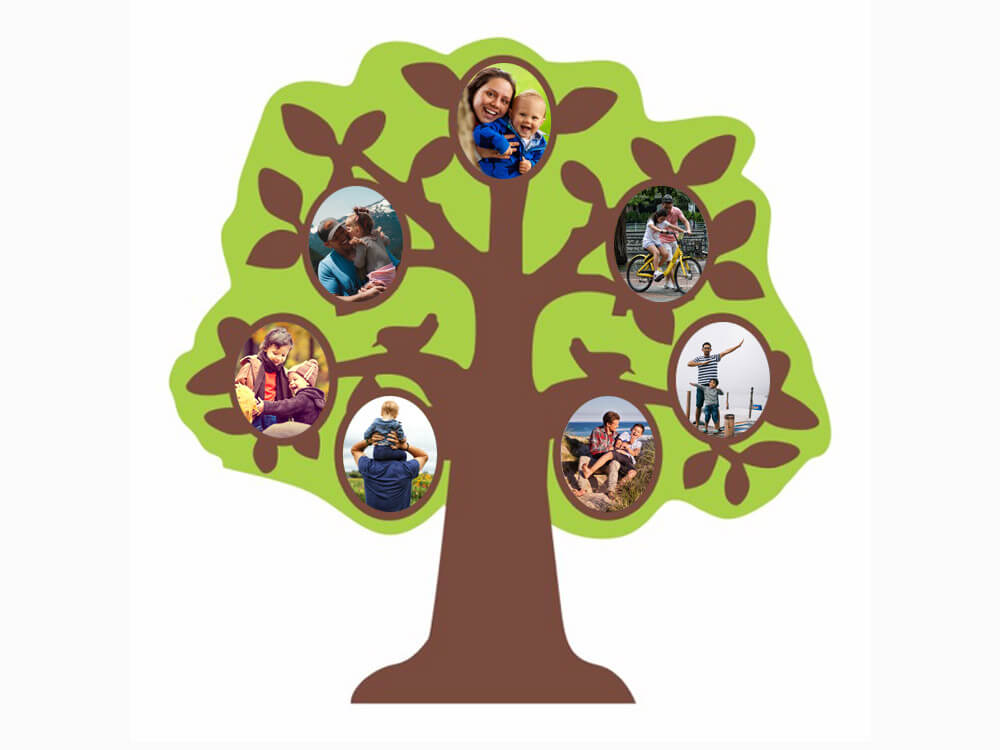 Wooden Wall Hanging Family Tree (7 Photos) (WHW16)