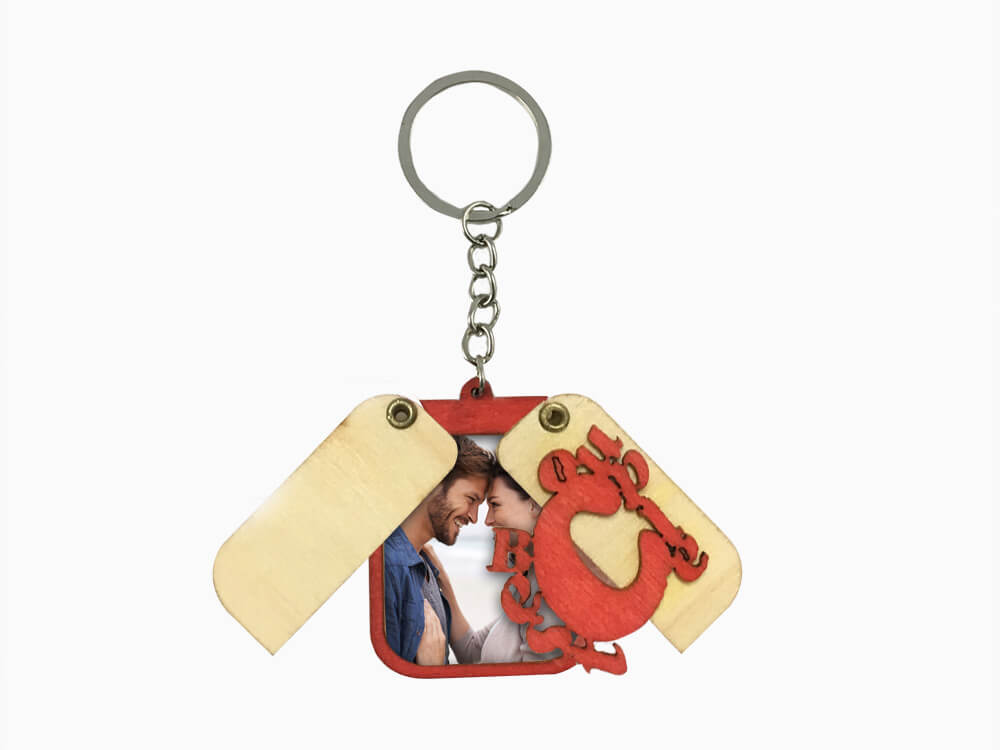 Wooden Folding Key Chain- Best Couple