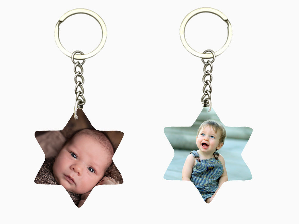 Wooden Key Chain - Star (Double Side Photo) - Key Chain - Wisholize